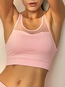 Pink Cut Out Grenadine Non-adjustable Straps Wire Free Padded Sport Bra