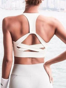 White Cut Out Full Cup Strapless Wire Free Padded Sport Bra