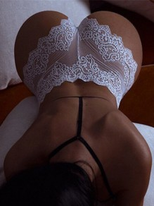 White Patchwork Lace Cut Out Bodycon Skinny High Waisted Fashion Lingerie Panty