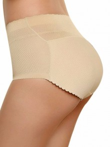Beige Patchwork Mid-rise Push Up Big Booty Shorts Lingerie Panty