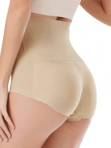 Beige Patchwork High Waisted Push Up Big Booty Shorts Lingerie Panty
