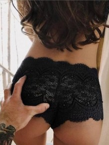 Black Floral Lace Cut Out High Waisted Pajama Lingerie Panty