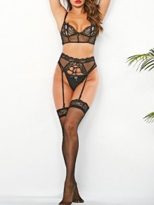 Black Patchwork Lace Three Point Suit Sheer Bra Panty Sets