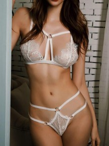 White Patchwork Lace Cut Out Two Piece Pajama Lingerie Nightwear Panty Set