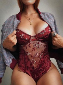 Burgundy Patchwork Grenadine Embroidery Spaghetti Strap Backless Leotard Bodysuit Lingerie Shapewear