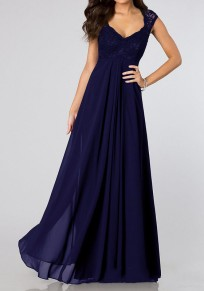 Blue Lace Spliced Pleated Cut out Scoop Neck Elegant Chiffon Maxi Dress