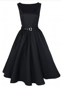 Black Plain Belt Pleated Swing Boat Neck Audrey Hepburn Style Party Vintage Dress