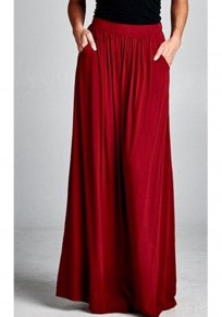 Red Pockets Draped Flowy High Waisted Bohemian Party Skirt