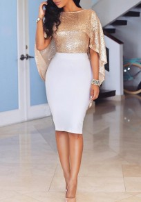 Rose-Gold Sparkly Sequin Irregular Backless Cloak Cape Sexy New Years Eve Blouse