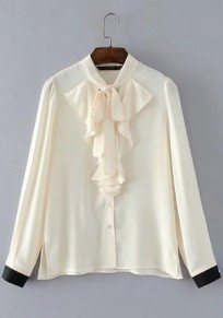Beige Patchwork Ruffle Band Collar Long Sleeve Fashion Blouse
