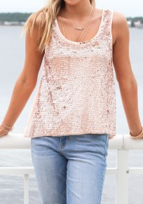 Pink Patchwork Sequin Cut Out Casual Going out Vest