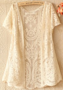Beige Flowers Hollow-out V-neck Gauze Crochet Embroidery Short Sleeve Lace Cardigan
