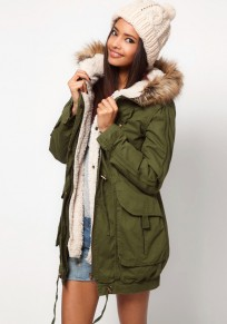 Army Green Rivet Hooded Cotton Blend Parka Coat