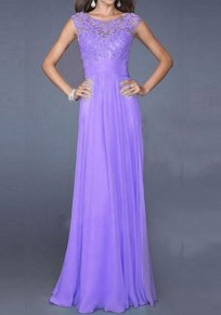 Purple Grenadine Draped Lace For Wedding Gowns Elegant Party Maxi Dress