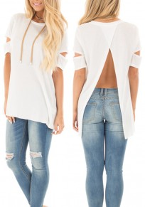 White Cut Out Sleeve Backless Casual Going out T-Shirt