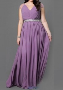 Purple Patchwork Sequin Pleated V-neck Sleeveless Plus Size Party Maxi Dress