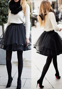Black Plain Pleated Tiered Ribbon Lining The Edge Party Tulle Chiffon Adorable Tutu Mini Skirt