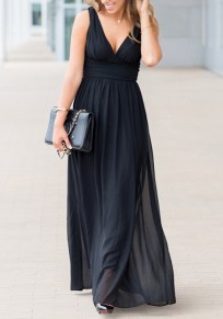 27b2770729f Black Zipper Double-deck Pleated Epaulet Backless Elegant Maxi Dress