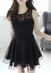 Black Patchwork Lace Grenadine Cut Out Round Neck Sleeveless Party Mini Dress