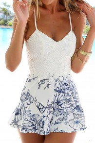 White Floral Lace Hollow-out Condole Belt Short Jumpsuit