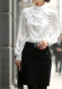 White Plain Stand Collar Ruffle Decorated Casual Cotton OL Blouse