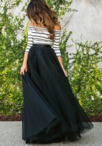 Black Tulle Elastic Waist Fashion Long Tutu Maxi Skirt