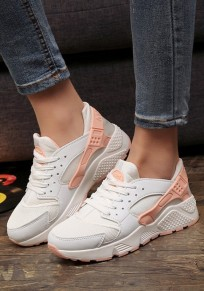 White And Orange Round Toe Flat Patchwork Casual Ankle Shoes