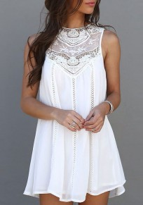 White Patchwork Grenadine Hollow-out Round Neck Sleeveless Mini Dress