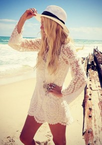 White Lace Round Neck Long Sleeve Fashion Blouse