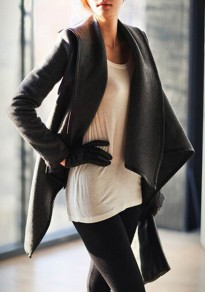 Grey Plain Irregular Zipper High Neck Long Sleeve Fashion Wool Coat