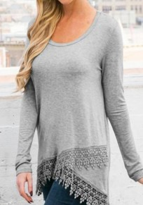 Grey Patchwork Irregular Lace Hollow-out Long Sleeve Casual T-Shirt