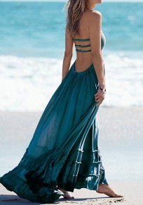 Blue Backless Spaghetti Strap Pleated Flowy Halter Neck Bandage Beach Elegant Maxi Dress