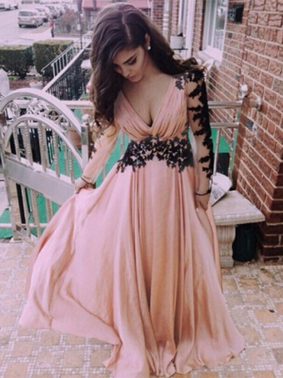 Nude Patchwork Grenadine Pleated Plunging Neckline Long Sleeve Lace Dress
