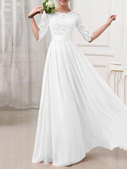 White Patchwork Lace Hollow-out Half Sleeve Bridesmaid Elegant Prom Wedding Registry Maxi Dress