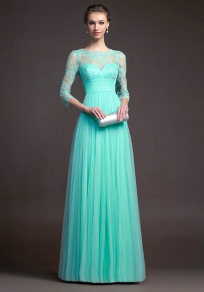 Turquoise blue Lace Pleated 3/4 Sleeve Elegant Fashion Ball Gown Prom Maxi Dress
