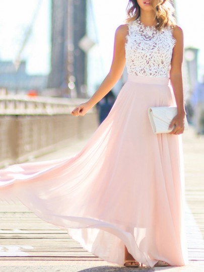 Pink Bridesmaid Lace Draped Sleeveless Flowy Beach Boutique Holiday Party Tulle Maxi Dress