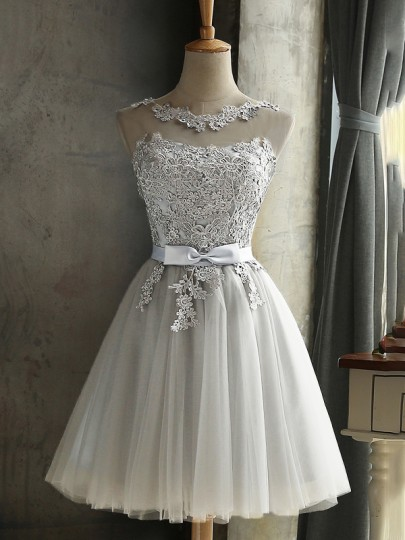 Silver Grey Lace Bow Grenadine Lace-up Bridesmaid Tutu Homecoming Teen Girls Dama Mini Dress