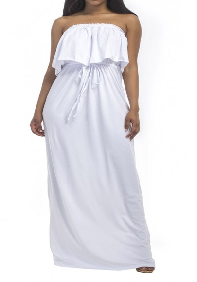d2819624982 White Bandeau Drawstring Ruffle Off Shoulder Plus Size Bohemian Maxi Dress