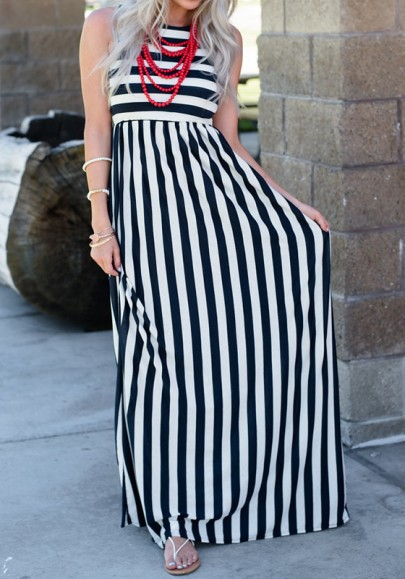 Black-White Striped Round Neck Going out Casual Maxi Dress