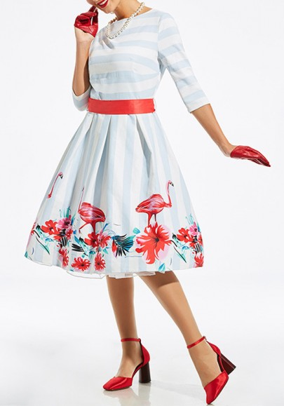 White-Blue Striped Floral Sashes Pleated Round Neck Vintage Midi Dress
