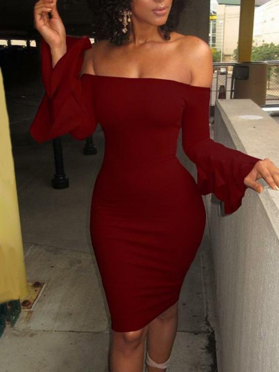 Wine Red Ruffle Off Shoulder Flare Sleeve Bodycon Elegant Banquet Prom Midi Dress