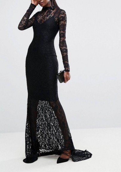60dbc05d1933 Black Lace Draped Backless Mermaid Banquet Elegant New Year Eve Party Maxi  Dress