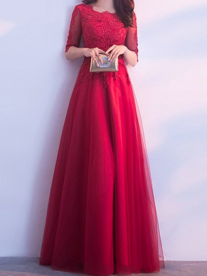 Wine Red Patchwork Lace Grenadine Round Neck Elbow Sleeve Maxi Dress