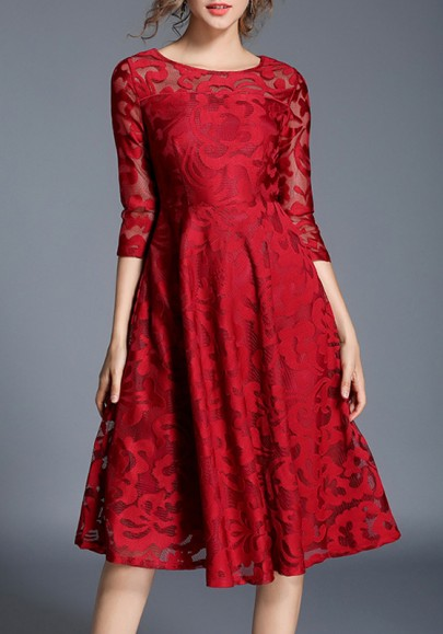 Red Floral Lace High Waisted 3/4 Sleeve Valentine's Day Homecoming Party Midi Dress