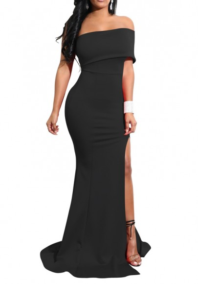 Black Boat Neck Off Shoulder Side Slit Elegant Party Maxi Dress