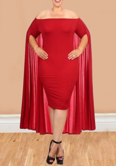 74c6746831f05 Red Off Shoulder Backless Plus Size Bodycon Cocktail Party Midi Dress With  Cape - Midi Dresses - Dresses
