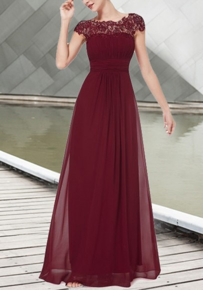 Burgundy Princess Patchwork Draped Lace Cut Out Backless Elegant Chiffon Prom Bridesmid Maxi Dress