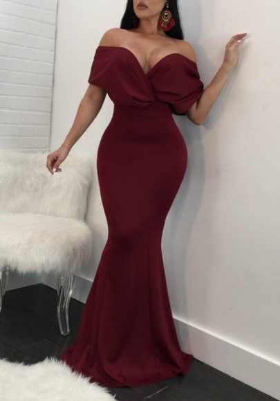d7972c89b46 Burgundy Draped Off Shoulder Backless Bodycon Banquet Party Maxi Dress