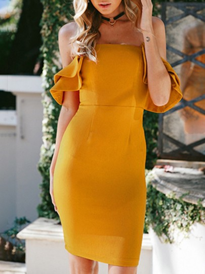 e974295b67f7 Yellow Ruffle Off Shoulder Backless Bodycon Bridesmaid Homecoming Party Mini  Dress