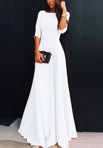 White Plain Draped Round Neck Three Quarter Length Sleeve Elegant Maxi Dress